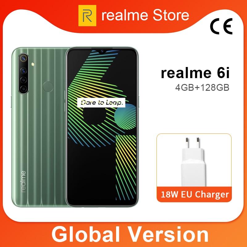 Global Version Realme 6i 4GB 128GB 6.5'' Mini-drop Fullscreen Helio G80 Octa Core 48MP AI Quad Camera 5000mAh Battery