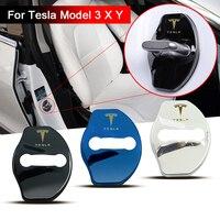 Cubierta de hebilla de bloqueo de puerta de coche, pegatinas 3D, accesorios para tesla model 3, modelo X y, decoración