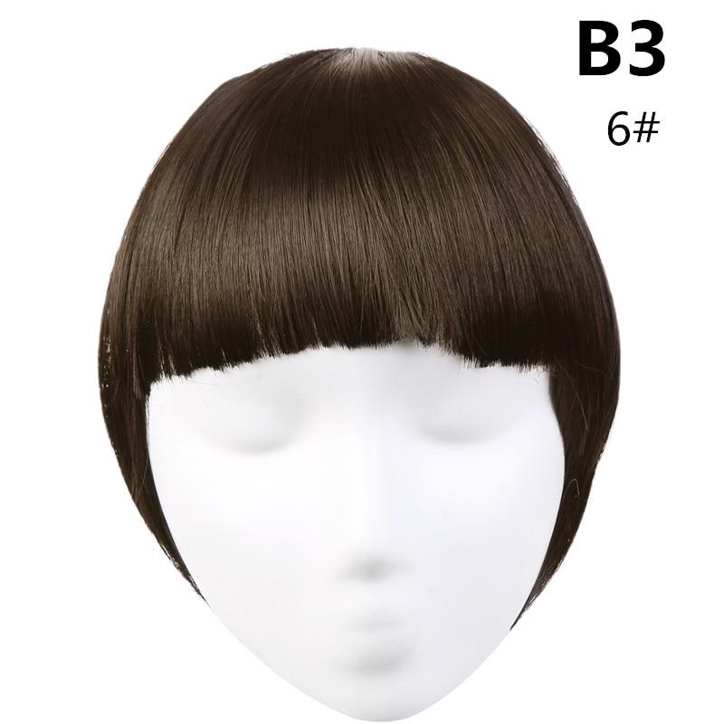 SARLA волосы челка клип в подметание боковая бахрома поддельные накладные взрыва натуральные синтетические волосы кусок волос черный коричневый B2 - Цвет: 6