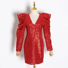 فستان سهرة من الترتر البراق بأكمام منفوشة ستايل جديد 2020