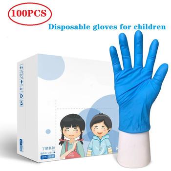 100 20pcs jednorazowe rękawiczki dziecięce nitrylowa lateksowa rękawiczka dla dzieci zagęszczone rękawice szkolne sprzątanie domu guma niebieska tanie i dobre opinie CN (pochodzenie) 140g children gloves Średniej grubości Nitrile Czyszczenie Gładka podszewka lateksowe kids gloves