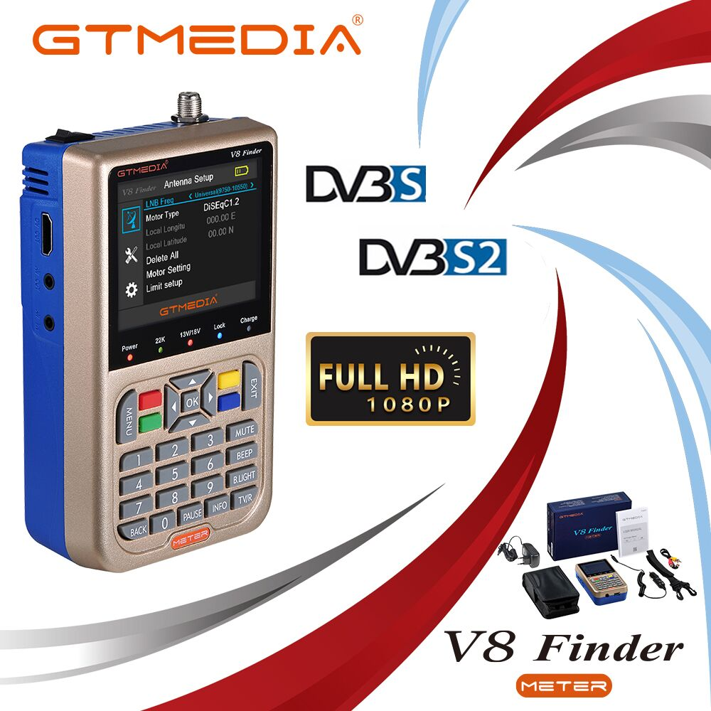 GTMEDIA V8 Finder METER DVB-S2/S2X Satellite Finder Russia Satelite Finder Meter Full 1080P FTA SatFinder For Satellite Receiver