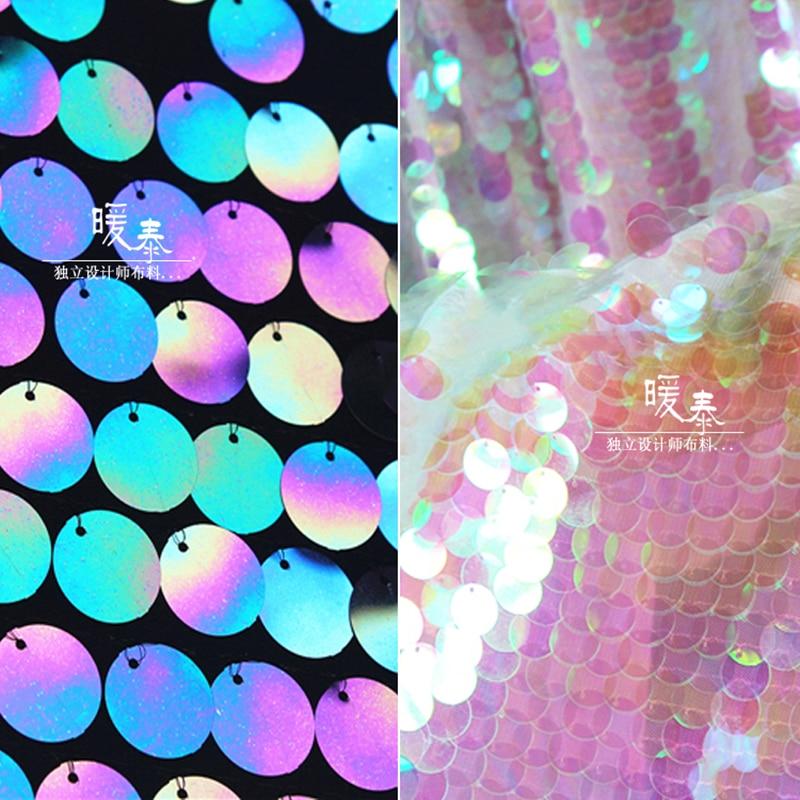 Расшитая блестящая ткань Радужная рыбья чешуя пайетки Сделай Сам Русалка сценическая одежда реквизит декор свадебное платье юбка дизайнерская ткань|Ткань|   | АлиЭкспресс