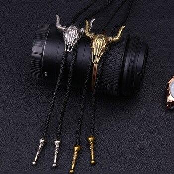 Matagorda Cow Skull Necklace Jewelry Men Tie Leather Bolo Tie Mens Gifts Necktie Men Accessories Hide Rope Sweater Chain Bowtie недорого