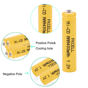 Image 5 - 6 шт. PKCELL AAA nicd Батарея 400 мАч 1,2 в перезаряжаемая батарея Кнопка NICD Топ для солнечных ламп без PCB