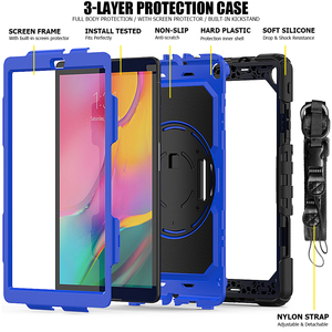 Image 3 - 360 Rotating Case for Samsung Galaxy Tab A 10.1 2019 T510 T515 SM T510 SM 515 Tablet Cover with Hand Shoulder Strap +pen + Film
