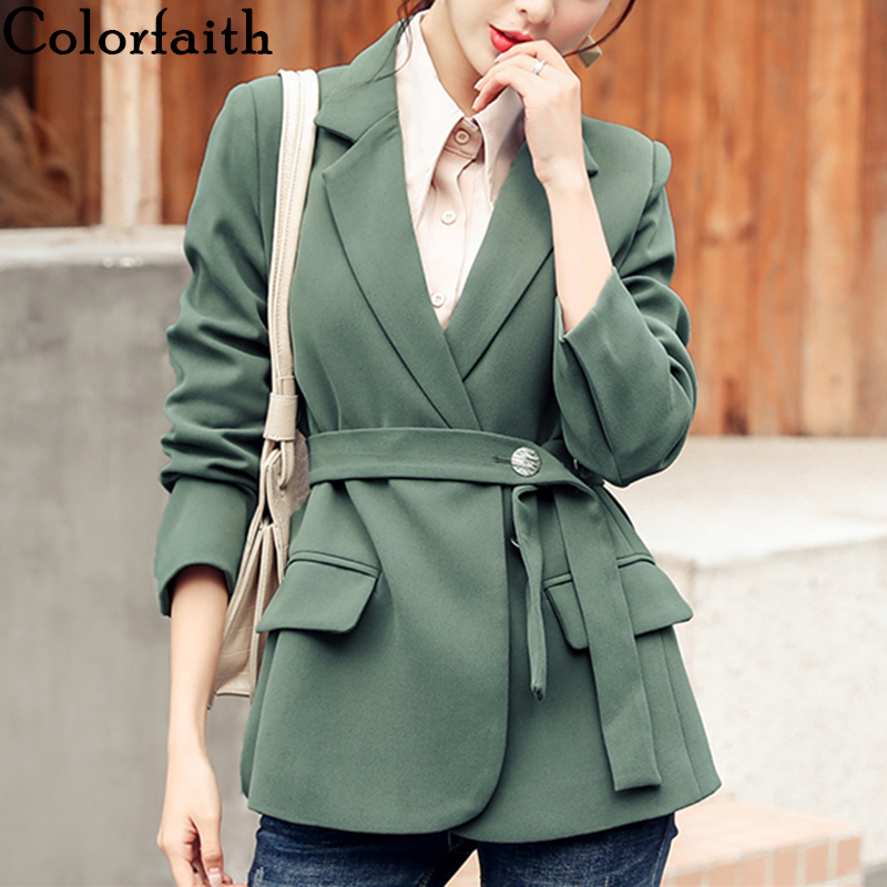 Colorfaith New 2019 Autumn Winter Women's Blazers Button Pockets Formal Jackets Notched Outerwear England Sashes Tops JK9175