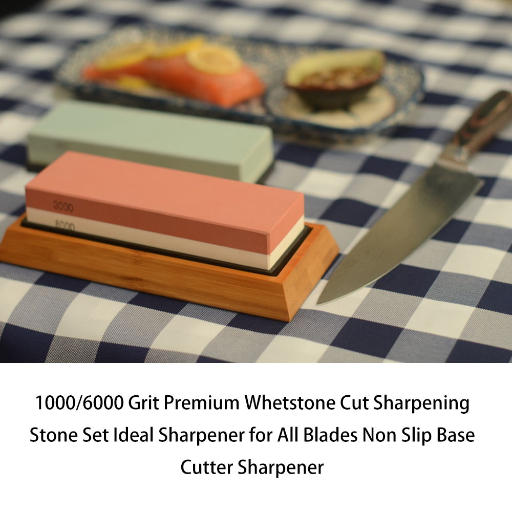 Double Sided Cut Sharpening Stone Set Kitchen Knife Sharpener Whetstone With Non-Slip Bamboo Base