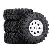 """INJORA 4PCS CNC 1.0"""" Beadlock Wheel Rim & Tire Set for 1/24 RC Crawler Car Axial SCX24 90081 AXI00001 Deadbolt 4"""
