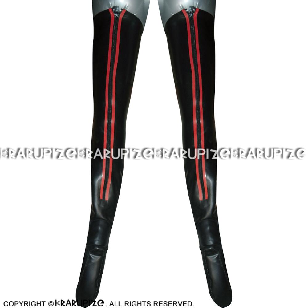 Sexy Long Latex Stockings With Stripes Around The Back Zippers Rubber Thigh High Stockings WZ-0052