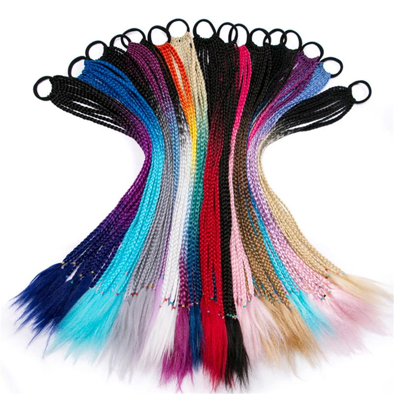 1 Set/2pcs Durable Braid Wig Elastic Hair Ties Useful Ponytail Holder Ring Pigtails Cute Braids Hair Extensions