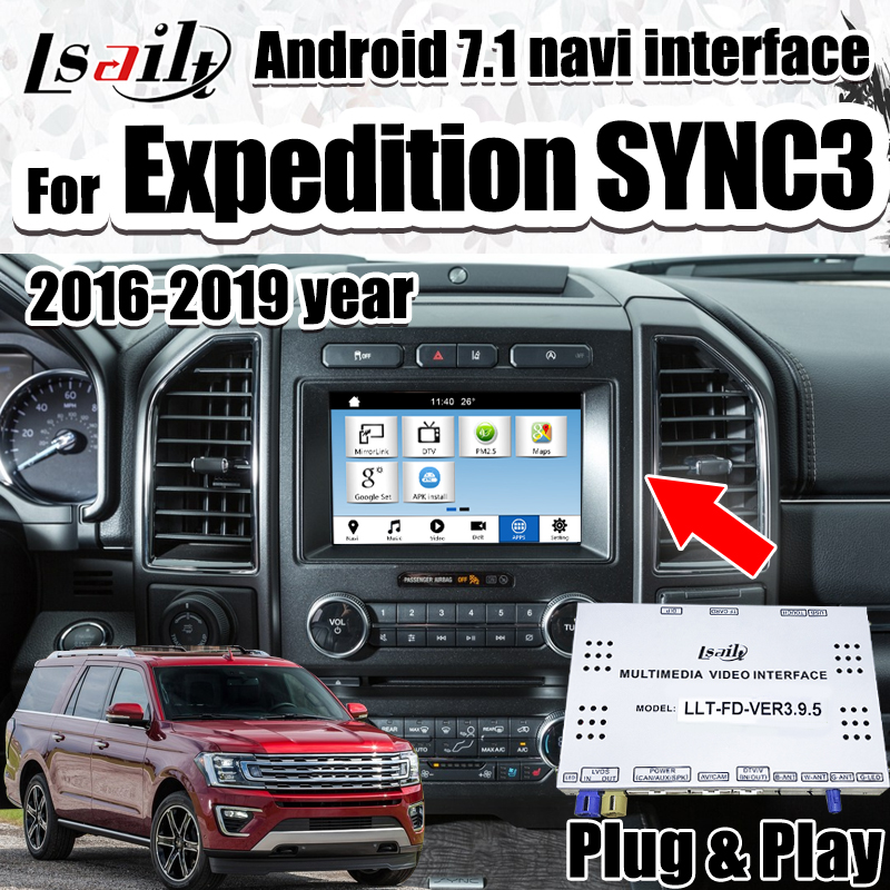 Newest Android 7.1GPS Navigation Box for Expedition Ford Sync3 Video Interface with RAM 3G , wireless carplay by Lsailt