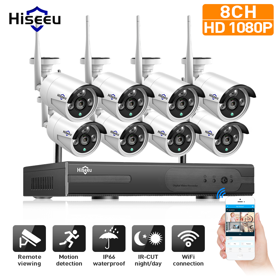 Sistem wireless CCTV 1080P 2M 8ch HD wi-fi kit NVR Vigiliu IR în aer liber IP Wifi IP Camera Security System Surveillance Hiseeu