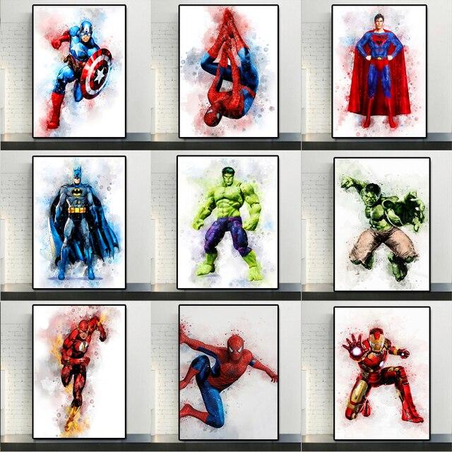 Marvel Cartoon Superhero Wall Art Printed on Canvas 1