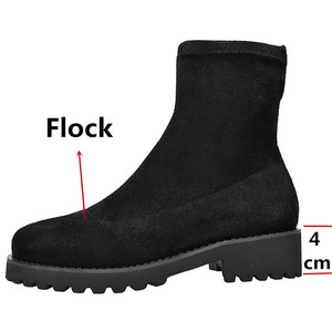 Image 3 - FEDONAS Autumn Winter Microfiber Leather Flock Women Ankle Boots Slip On Socks Boots Warm Short Boots Party Office Shoes Woman