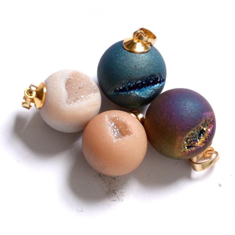 Crystal Cave Necklace Crystal Stone diy Pendant Nantural Agate ball crystal in Stones from Home Garden