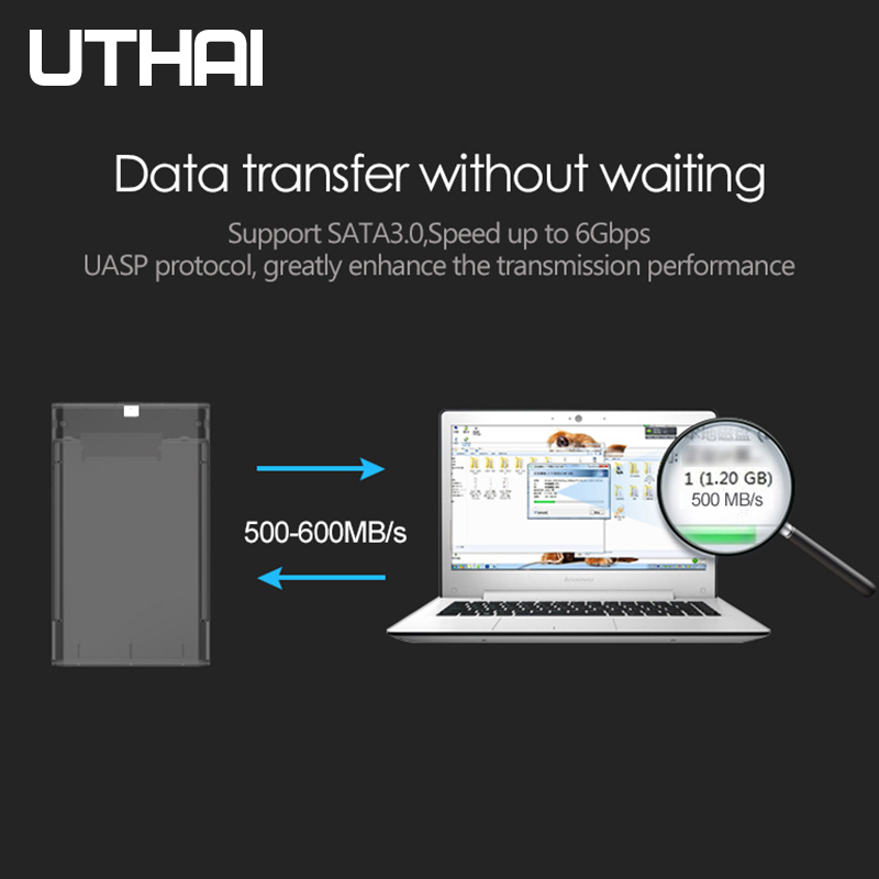 """UTHAI G25 USB3.0/Type-C HDD Enclosure of 2.5"""" Hard Disk Case SSD SATA3 to USB 3.0/2.0 Box USB C HDD Case Gen2 6GBp/s SSD 5"""