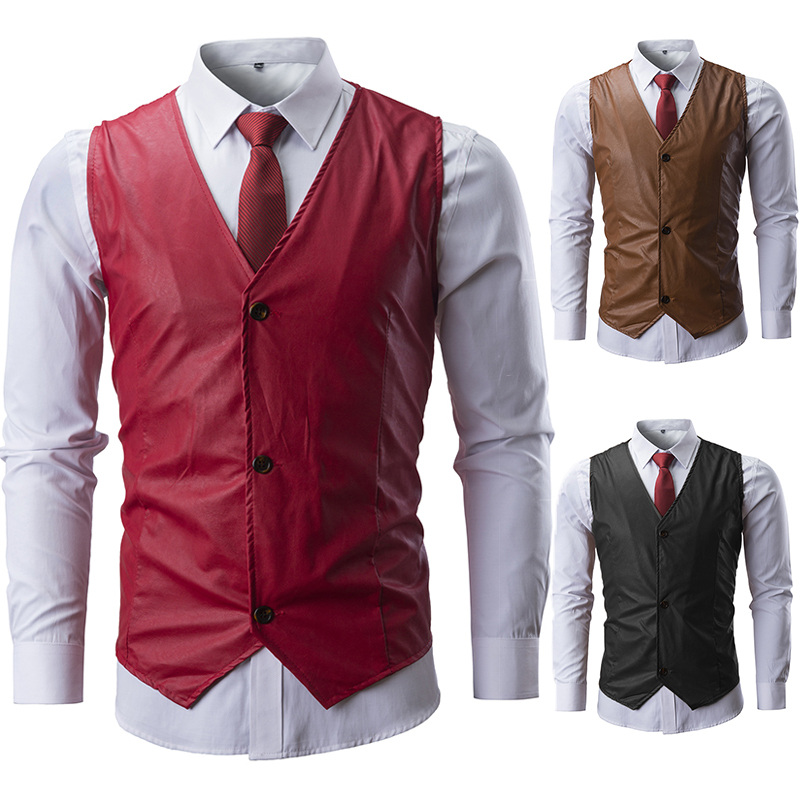 Brand Leather Suit Vest Men 2019 Fashion Solid Color Sleeveless Slim Waistcoat Men Single Breasted Gilet
