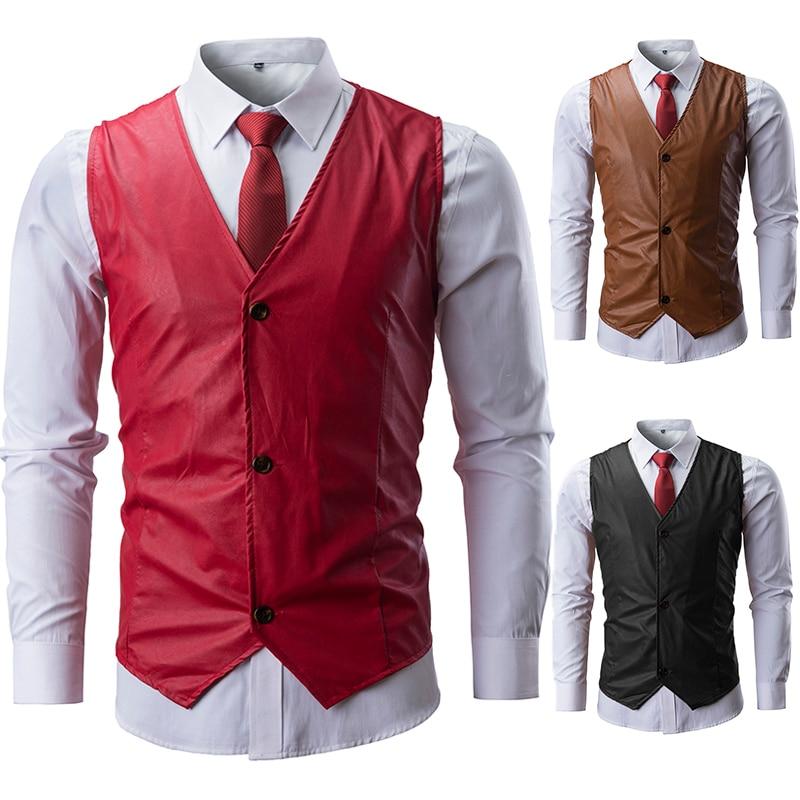 Brand Leather Suit Vest Men 2019 Fashion Solid Color Sleeveless Slim Waistcoat Men Single Breasted Gilet