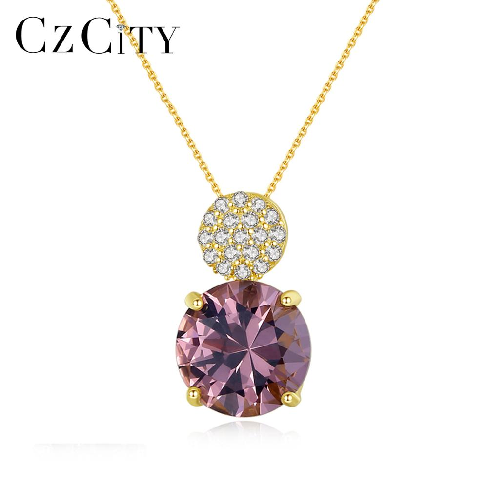 CZCITY Zultanite Gemstone Pendant Necklaces For Women Wedding Engagement Fine Jewelry 925 Sterling Silver Anillos Christmas Gift