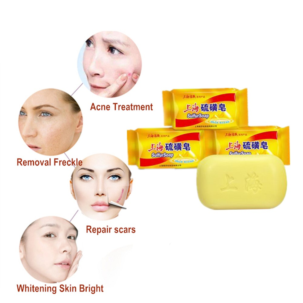 85g Shanghai Whitening Soap Chinese Traditional Skin Care Acne Treatment Blackhead Remover Soap Oil-control Soap Base image