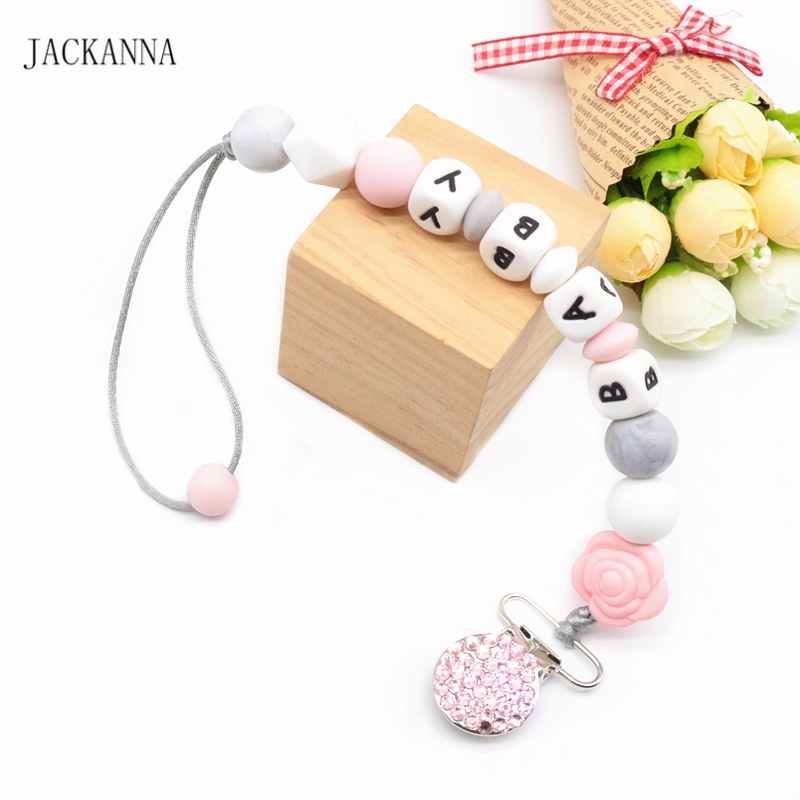 Customized Name Baby Pacifier Clips Bling Bling Dummy Holder Newborn Attache Sucette Shower Gift Silicone Baby Pacifier Chain