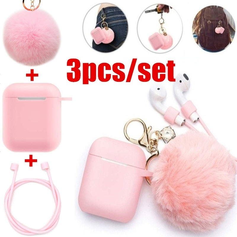 3Pcs/Set Airpods Case - Drop Proof Air Pods Protective Case Cover Silicone Skin Cute Fur Ball Airpods Keychain Accessories