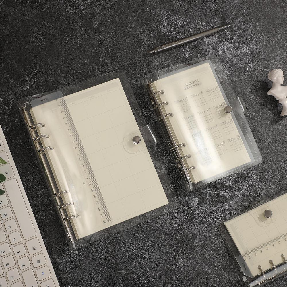 Carpeta transparente de hojas sueltas A5, A6 y A7, suministros de oficina, cuaderno, diario, planificador, con correa suelta y núcleo interno