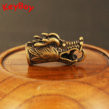 Pure Copper Domineering Zodiac Dragon Head Pendants Men Car Key Chain Ring Pendant Vintage Brass Dragon DIY Keyring Part Jewelry(China)