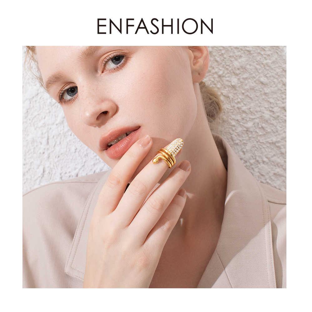 ENFASHION Punk SNAKE Rhinestone แหวนเล็บสแตนเลส Curve แหวนสำหรับผู้หญิงอุปกรณ์เสริมแฟชั่นเครื่องประดับของขวัญ R194018