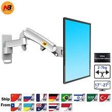 "NB F150 alüminyum alaşım 360 derece 17 "" 27"" monitör tutucu gaz bahar kol LED LCD TV duvara monte yükleme 2 7kgs"