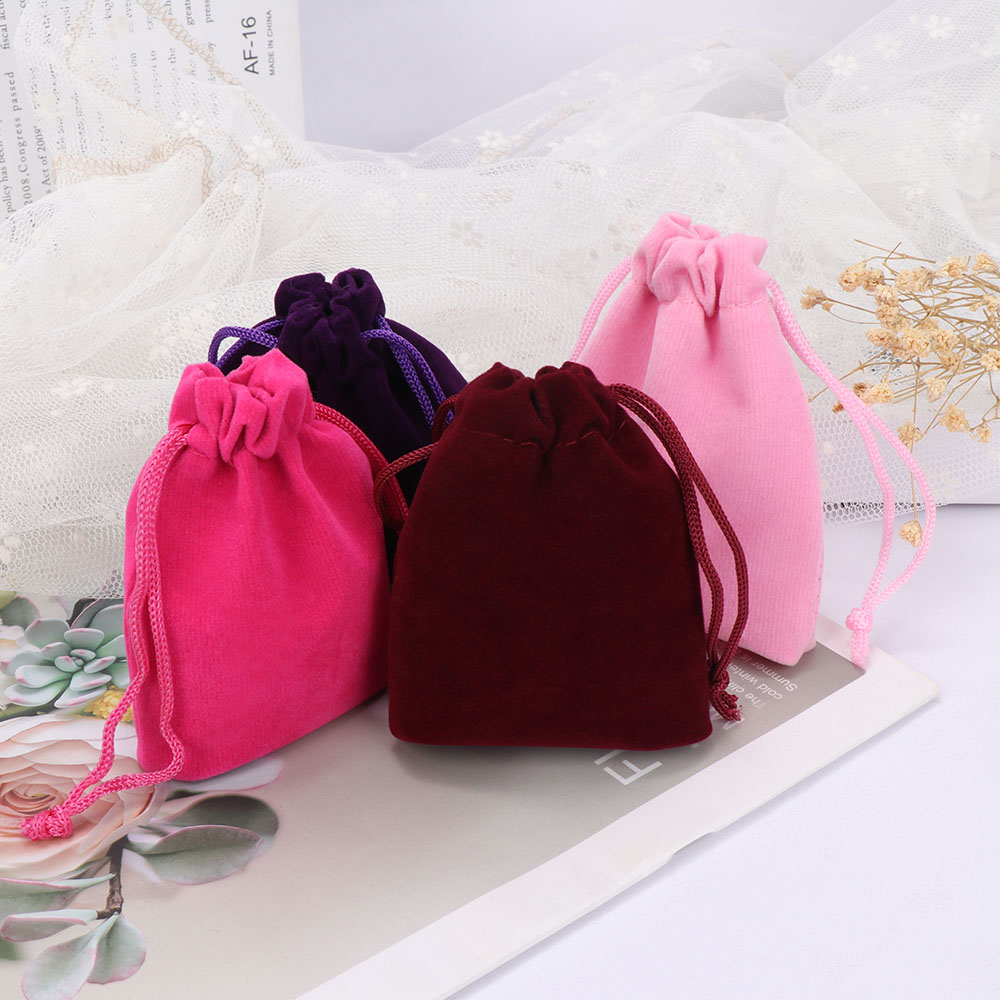 10pcs 7x9cm Coloful Velvet Bags Jewelry Packing Velvet Drawstring Pouches Gift Display Packing Bags