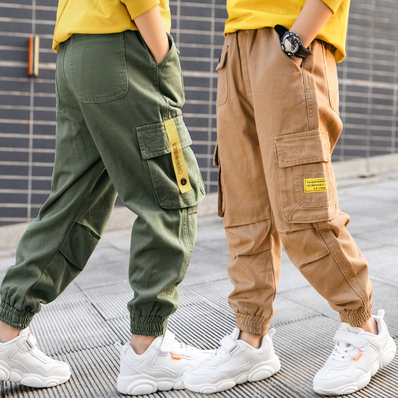 Big Boy Child Cargo Pants Casual Sports Pants 2020 Spring Autumn Children Pants for Teenage Pockets Trousers 6 8 10 12 14 Years