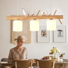 Nordic criativo varas de madeira pingente luz para sala jantar cozinha arte bonito pombo decoração mesa pendurado lâmpada luminárias