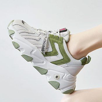 2020 off chunky white sneakers Breathable casual flat platform sneakers women Trainers Women green loafers women's Female Shoes
