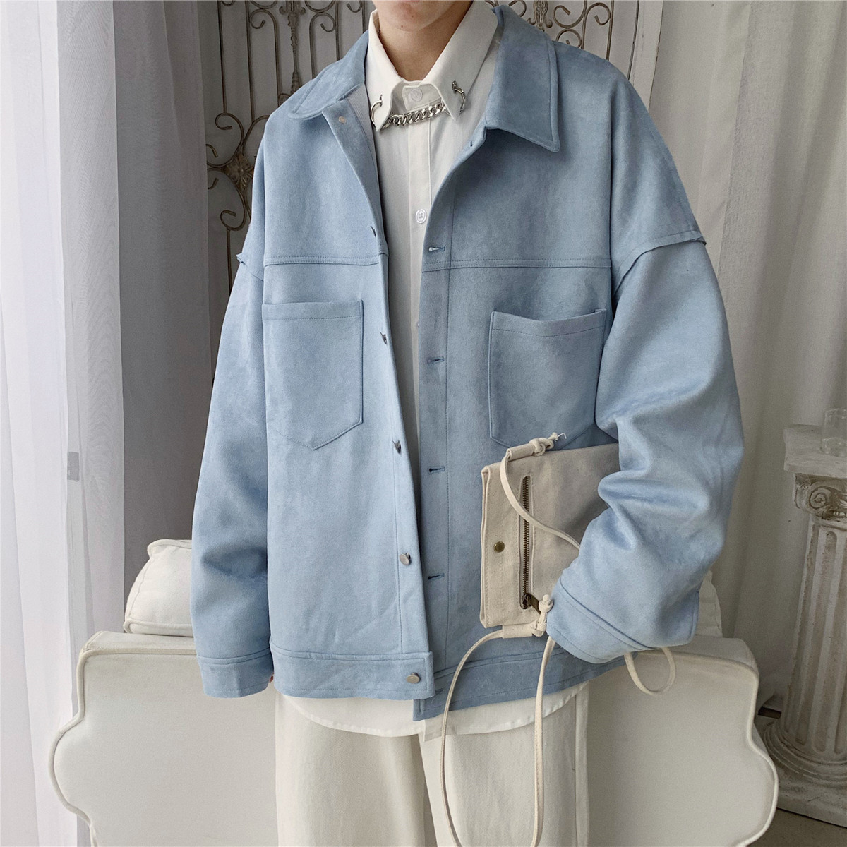 2020 Men's Tide Streetwear Bomber Jacket Leisure Fashion Coats Loose Black/Apricot/blue/green High-quality Outerwear Size M-2XL