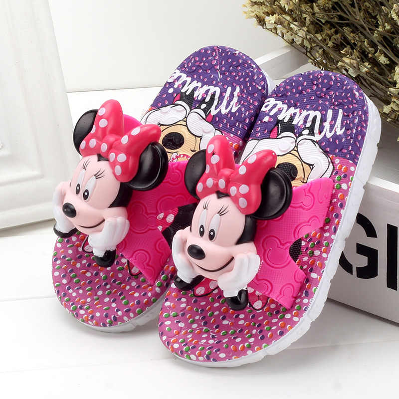 Children's Summer Boys Girls Slippers Cartoon Mickey PVC Bathroom Non-slip Soft Girls Home Shoes Kids Indoor Outdoor Slippers