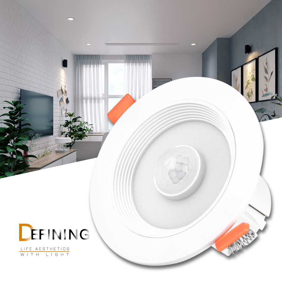 PIR Sensor LED Downlight 5W 10W 15W 20W Recessed LED Ceiling Downlight Modern LED Night Light With PIR Infrared Motion Sensor