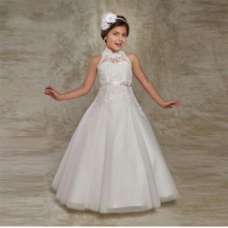 White Appliques Tank Sleeve A-line   Flower     Girl     Dresses   Vintage High Neck Sleeveless Floor Length Communion Gown