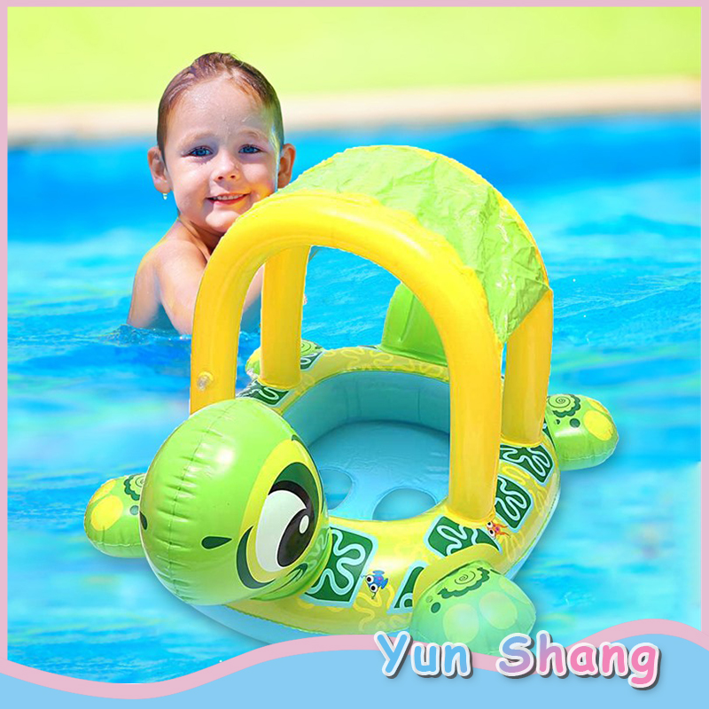 Infant Swimming Ring Baby Turtle Boat Float With Awning Summer Sunshade Swimming Ring Inflatable Infants Float Seat Boat