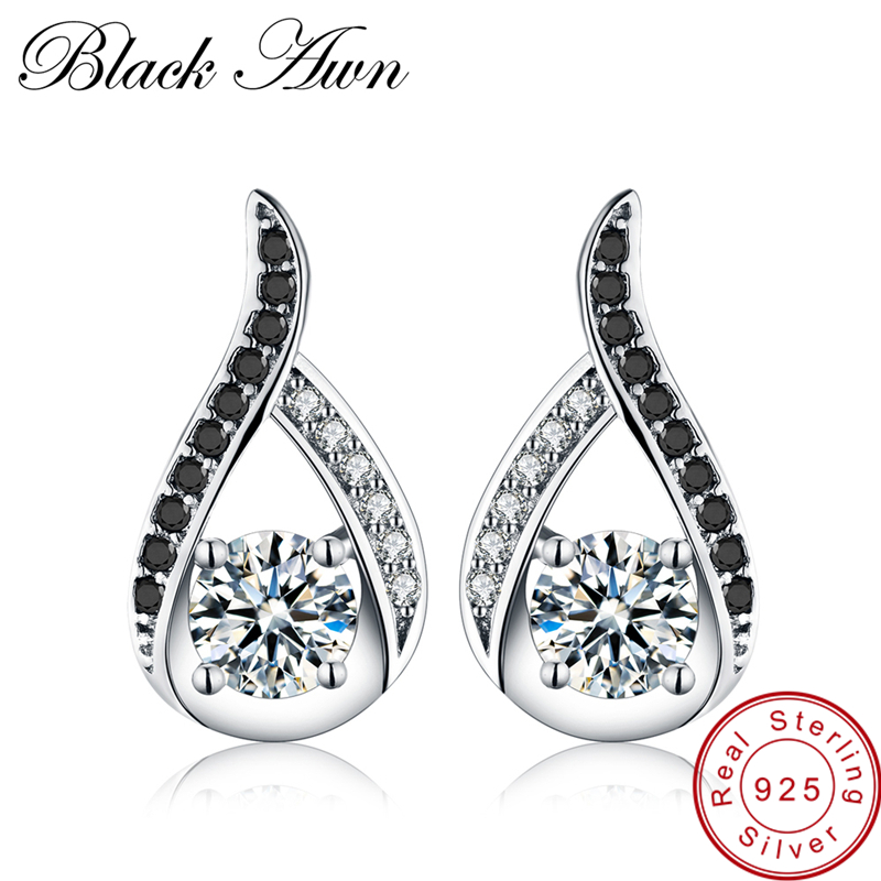 [BLACK AWN] 925 Sterling Silver Jewelry Natural Boucle D'oreille Stud Earrings for Women Fine Jewelry T004