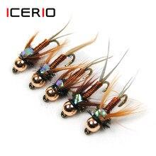 Icerio 10 pçs cobre john fly latão beadhead ninfas amarrando gancho truta pesca mosca iscas