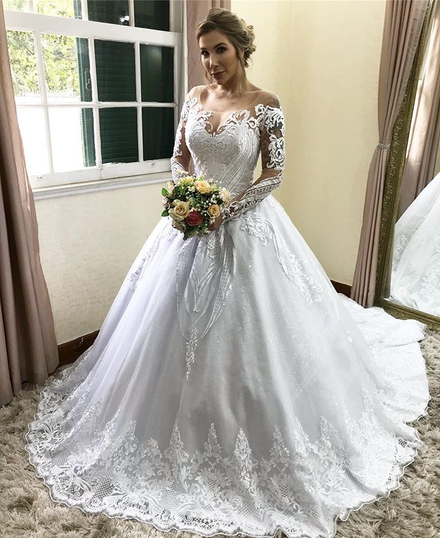 Vestido De Noiva Vintage Lace Applique Wedding Dress 2019 Court Train Long Sleeve Scoop Neck Dress Bride  Vestidos Novia