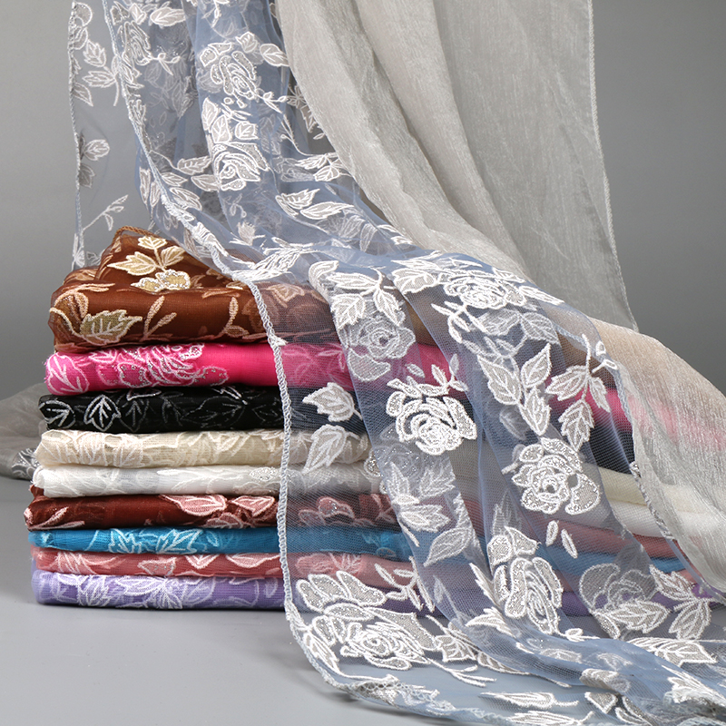 Lace Silk Scarf Cut Flowers Hollow Shawl Women Summer Lightweight Scarves Soft Wrap Beah Long Towel 180*90cm