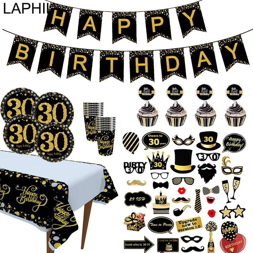 LAPHIL Black Gold 30th Birthday <font><b>Party</b></font> <font><b>Decoration</b></font> Paper Banner Hanging Garland Adult Birthday <font><b>30</b></font> Years <font><b>Party</b></font> Anniversary Supplies image