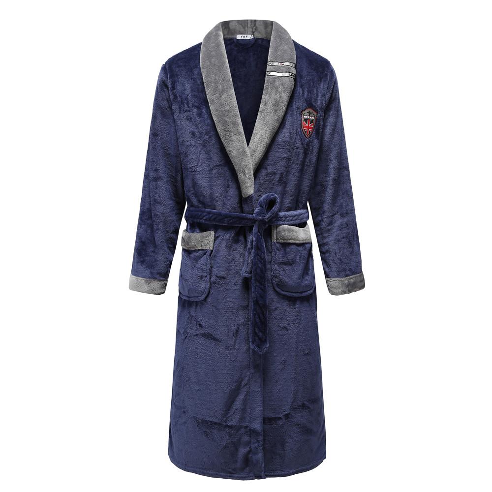 Autumn Winter Nightdress Blue Men Casual Coral Fleece Sleepwear Warm Couple Home Wear Flannel Belt Pyjamas Kimono Bathrobe Gown