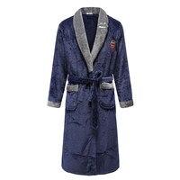 Camisón azul para hombre, ropa de dormir informal de lana Coral, cálido, para casa, cinturón de franela, Kimono, bata de baño