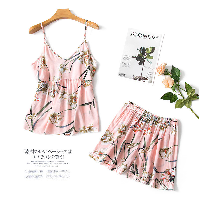Pajamas WOMEN'S Tank Top Two-Piece Set Spring And Summer Sexy Women's Bourette Sexy Shorts Tracksuit Summer-Outer Wear 7271