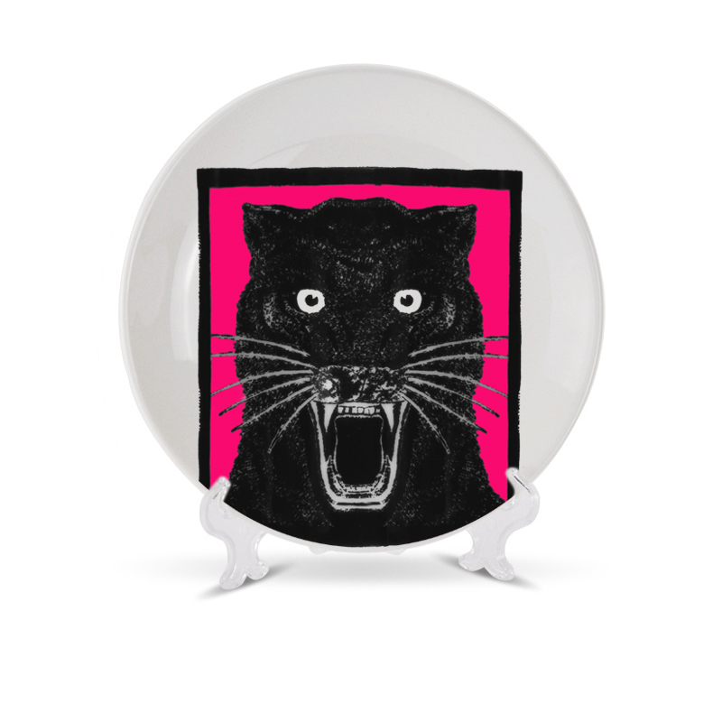 Italy Style Unskilled Worker Theme Decorative Plate Black Panther Ceramic Dish For Home Decor Cute Gift For Friend Art Craft