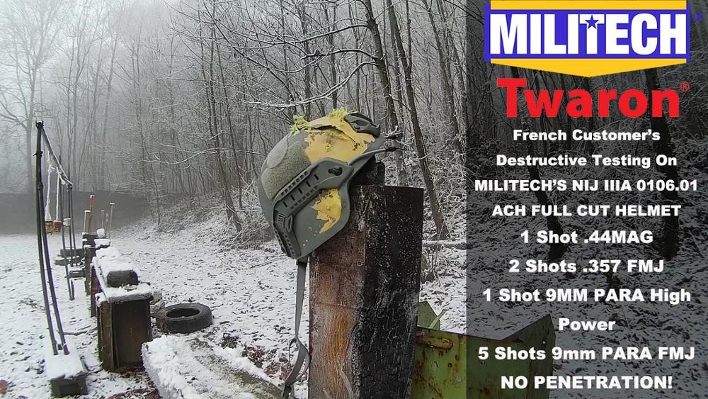 Testing Video--Militech NIJ IIIA MICH Helmet French Customer's Destructive Test Video